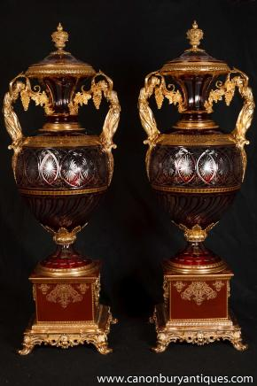 Pair XL French Empire Porcelain Glass Urns Vases Ormolu Maidens