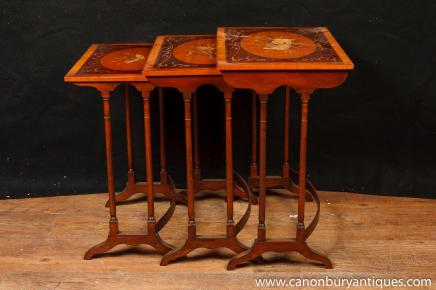 Regency Sheraton Nest Tables Side Table Painted Musical Instruments