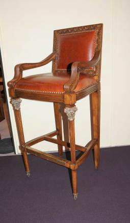 Victorian Bar Stool Walnut Hand Carved Seat Tall Arm Chair