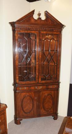 Victorian Flame Mahogany Corner Cabinet Display Bookcase