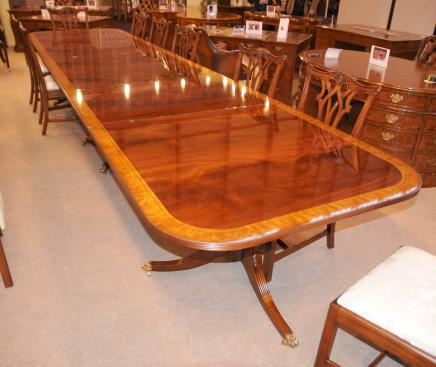 16 ft Regency Dining Table Triple Pedestal Mahogany Diner