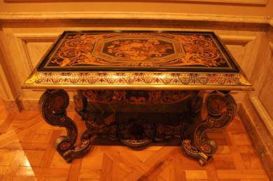 Andre-Charles Boulle Table oak veneered with ebony, tortoiseshell, pewter, brass, bone and staine and natural woods at The Getty