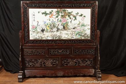 Antique Chinese Carved Screen Painted Porcelain Panel Circa 1920