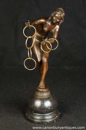 Art Deco Bronze Hoop Dancer Signed Colinet Nude Figurine
