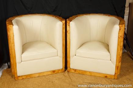 Art Deco Club Chairs Tub Arm Chairs Crinkle Walnut