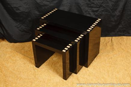 Art Deco Lacquer Nest Tables Side Table
