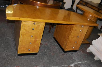 Art Deco Pedestal Desk Blonde Walnut Writing Table Knee Hole