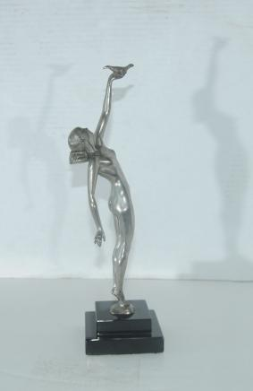 Art Nouveau Bronze Figurine Messenger of Peace Nude Female