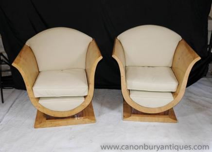 Blonde Walnut Art Deco Club Chairs Sofa Armchairs