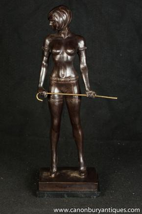 Erotic Bronze Nude Figurine by Bruno Zach Dominatrix Sex