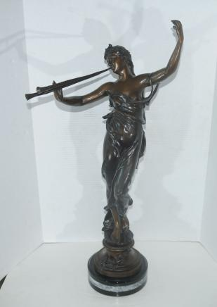 French Bronze Female Statue Girl with Flute by Eug Mariston