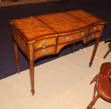 George II Writing Desk Bureau Serpentine Desks Burl Walnut
