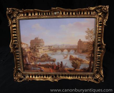 Italian Oil Painting Landscape Rome Tiber Gilt Frame Art