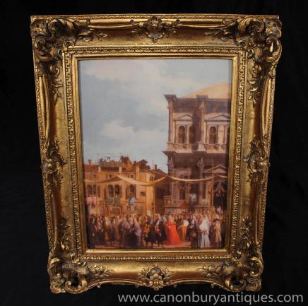 Italian Oil Painting Venice Town Square Venetian Art Gilt Frame