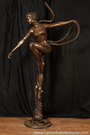 Large Art Nouveau Bronze Nude Female Figurine Statue