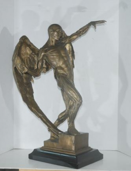 Large Bronze Statue Lucifer Satan Devil Figure Male Nude Art