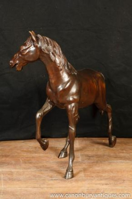 Large French Bronze Horse Pony Statue Mare Casting Garden Art