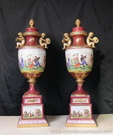 Large German Porcelain Cherub Urns Dresden Vase