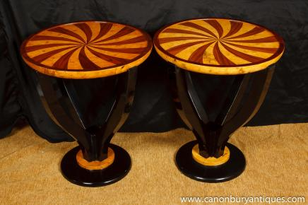 Pair Art Deco Inlay Cocktail Tables Side Table 1920s Furniture