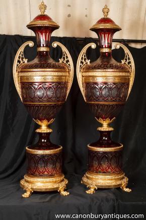 Pair Big Louis XV Crystal Glass Urns Vases Ormolu Mounts