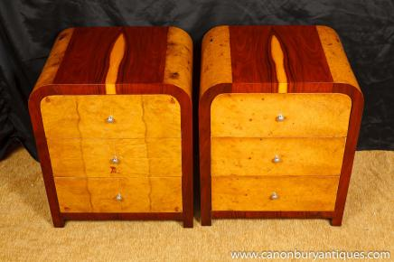 Pair Blonde Walnut Deco Nightstands Bedside Chests Commodes