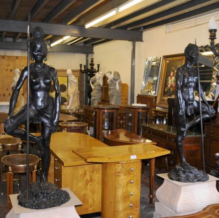 Pair Bronze African Tribal Masai Warriors Statues Art