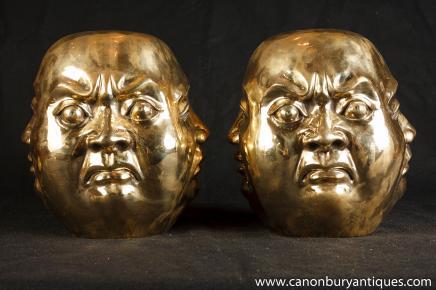 Pair Bronze Buddha Head Statues Buddhism Buddhist