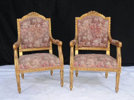 Pair Carved Gilt Arm Chairs Armchairs French Neo Classical