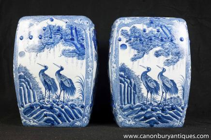 Pair Chinese Nanking Porcelain Garden Seats Blue White Pottery