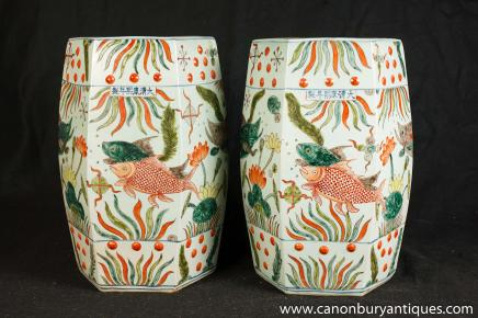 Pair Chinese Qianlong Porcelain Seats Stools Vases Pottery