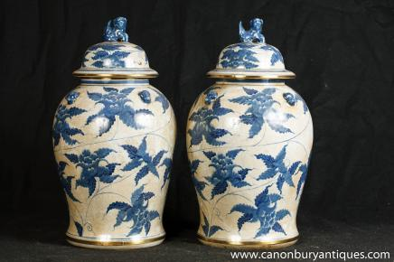 Pair Chinses Temple Jars Blue White Nanking Porcelain Ginger Vase