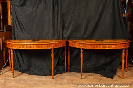 Pair Chippendale Painted Console Tables Carved Demi Lune Table