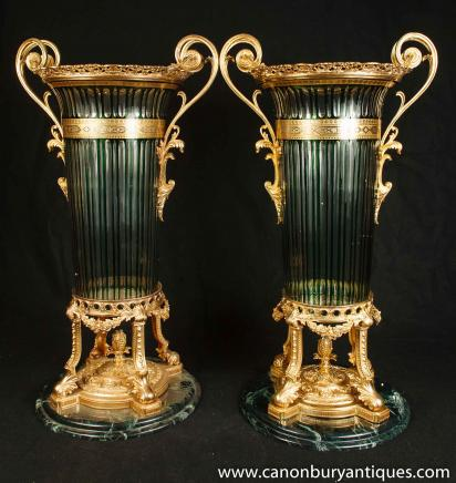 Pair Cut Glass Vases French Empire Ormolu Urns Classical Interiors