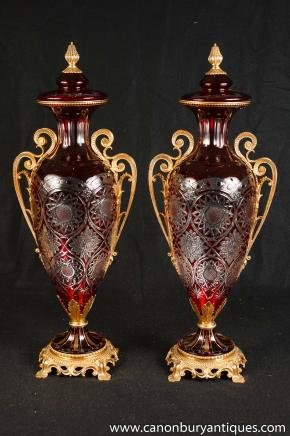 Pair French Empire Crystal Vases Ormolu Fixtures Louis XV