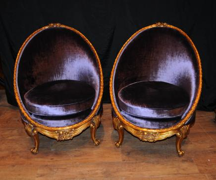 Pair French Empire Tub Chairs Arm Chair Fauteil Gilt Frame
