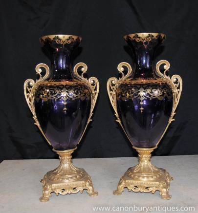 Pair Glass French Empire Vases Urns Hand Painted Gold Leaf Arabesques
