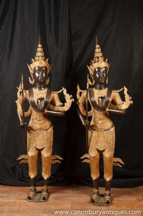 Pair Large Bronze Bali Temple Buddha Statues Buddhism Buddhist Art