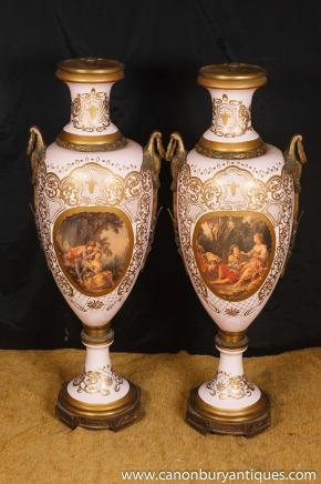 Pair Large Sevres Porcelain French Amphora Urns Vases