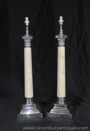 Pair Regency Table Lamps Corinthian Columns Silver Plate Porcelain Lights