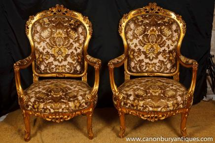Pair Victorian Gilt Arm Chairs Woven Textile Upholstery Fauteuil