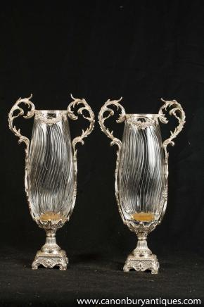 Pair Victorian Sheffield Silver Plate Glass Vases Urns