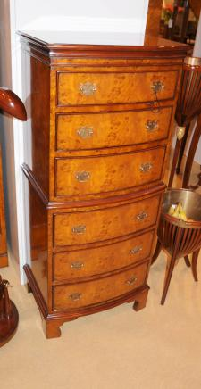 Regency Burl Walnut Chest on Chest Bow Front Commode