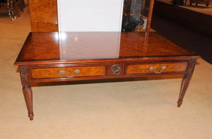 Regency Burr Walnut Coffee Table Hand Carved Tables
