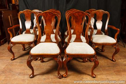 Set Queen Anne Dining Chairs Walnut Chair 10 Seats