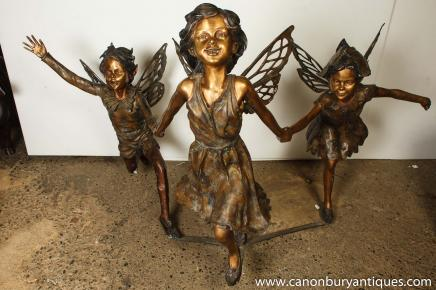 Trio XL Bronze Garden Fairies Fairy Fairey Fairys