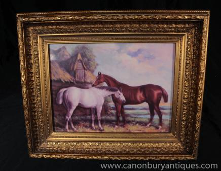 Victorian Oil Painting Pair Horses Pony Gilt Frame
