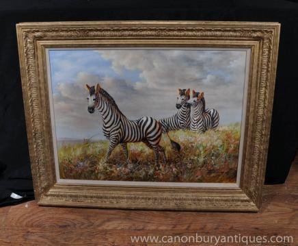 Victorian Oil Painting Zebra Zebras African Landscape Gilt Frame