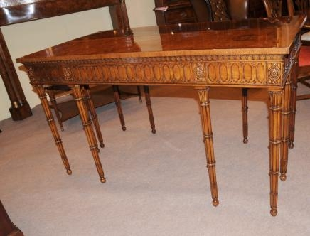Walnut Chippendale Console Table Hand Carved Bamboo Leg Tables