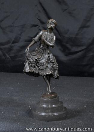 Art Deco Bronze Flapper Figurine Dancer Signed Colinet