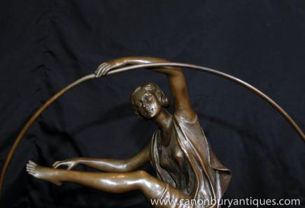 Art Deco Bronze Statue Hoop Dancer Girl Signed Godard French Figurine